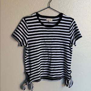 Madewell Modern Stripe Side Tie Tee Shirt